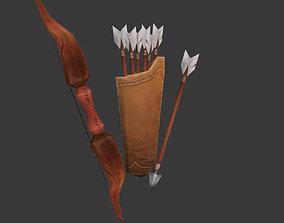 Shabby bow with kalchan and arrow 3D model