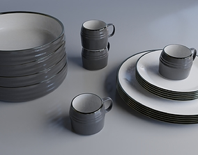 3D model PBR tea Dining set