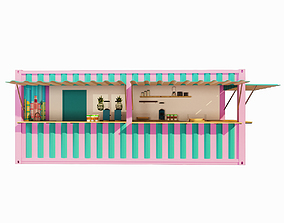 V1 Mobile shipping container restaurant Container 3D model