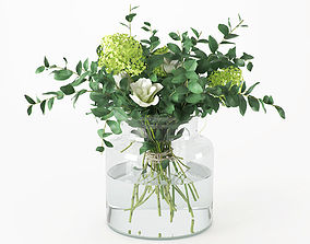 Bouquet of flowers in the jar 3D
