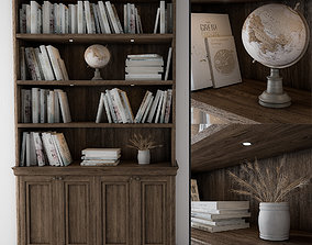 wooden library bookcase 3D model