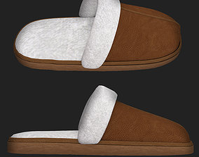 3D model realtime Leather slippers with fur shoes