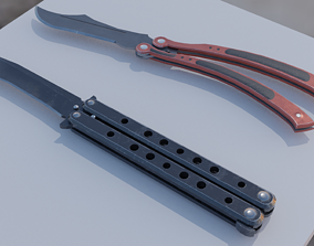 3D asset Two PBR gameready butterfly knifes