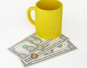 Set Dollar Bills Coins Yellow Cup 3D model