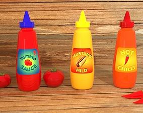 3D model Sauce Bottles with Labels