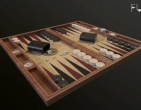 3D model Backgammon board game Set low poly asset PBR 3