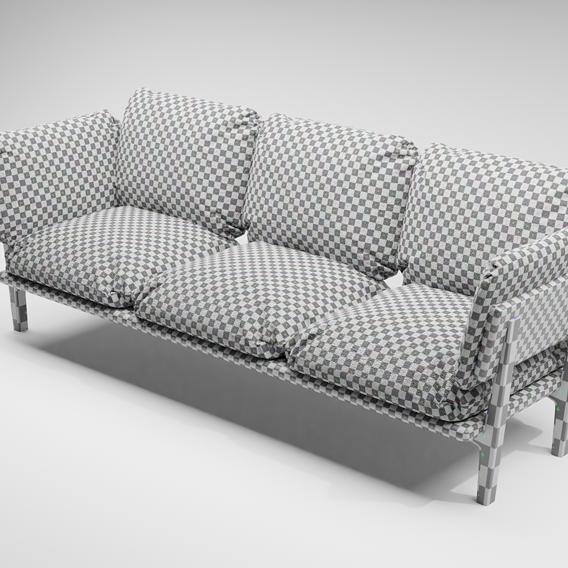 [Blender][2.91]3-Seater Sofa[cloth sim]