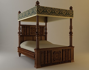 3D Antique Canopy Bed
