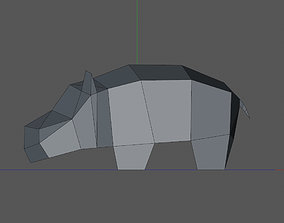 3D printable model low poly hippopotamus