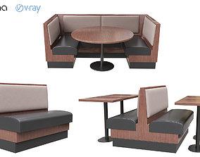 3D leather Restaurant Bench