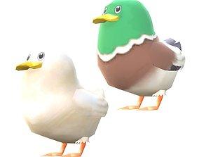 Lowpoly Animal Cartoon - Duck 3D model