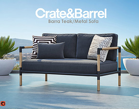 Barra Teak and Metal Sofa from Crate and Barrel 3D