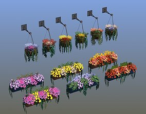 3D asset low-poly Flower Baskets and Boxes