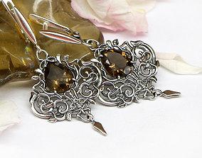 design Dangle earrings 3D model in fantasy style