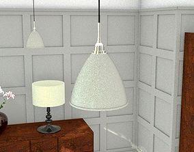 30s style cream pendant light 3D asset