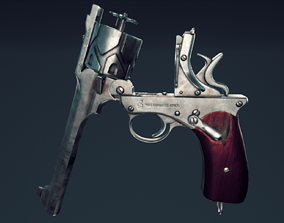 Webley Fosbery Automatic Revolver 3D model low-poly