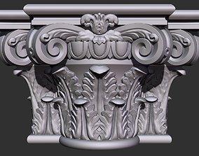 Corinthian capital with column 3D