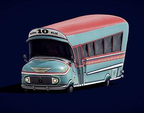 Colectivo 10 Toon Argentine Bus 3D asset