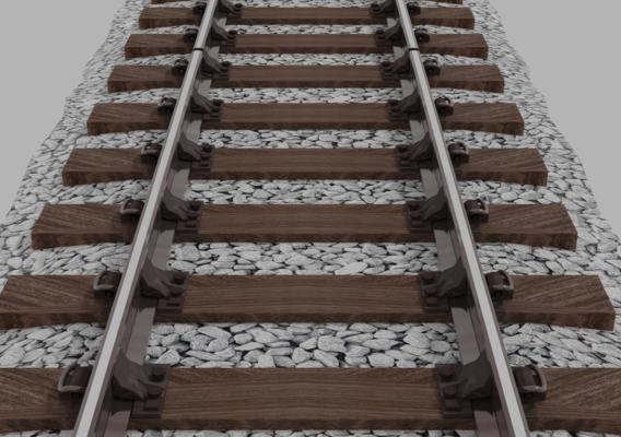 Railway Wooden Sleeper Low Poly