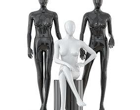 3D Three faceless female mannequins 24