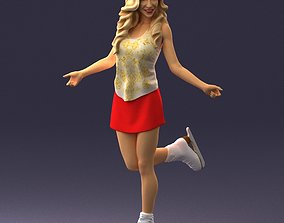 Woman in red skirt on ice skates 0159 3D Print Ready