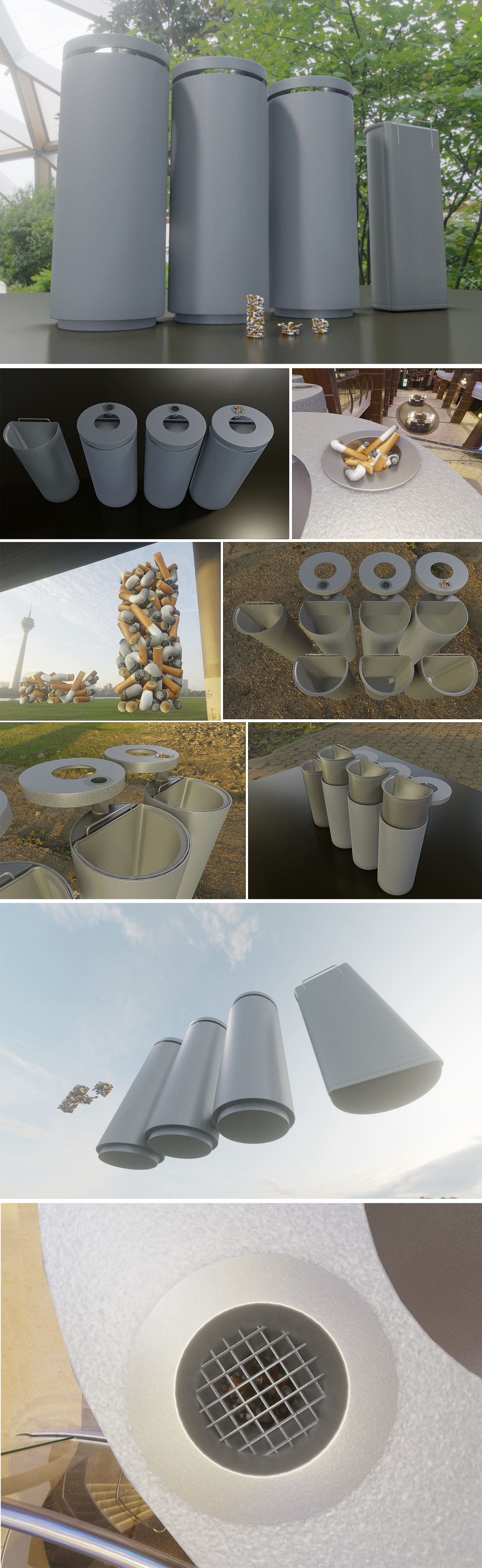 Animated Urban Trash Bin with and without Ashtray and Cigarette Butts
