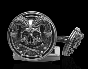 ring 3D printable model skull cufflinks