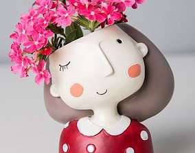 Decoration Planter Pot Cute Girl 4 stl for 3D