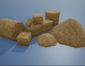 Lowpoly Hay Stacks 3D asset