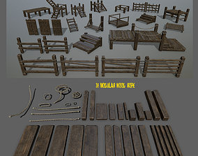 3D model low-poly woods and ropes