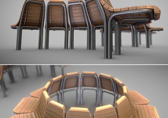 Round Tree Bench [7] Wood Metal Version 1