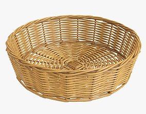 Wicker basket round medium brown 3D model