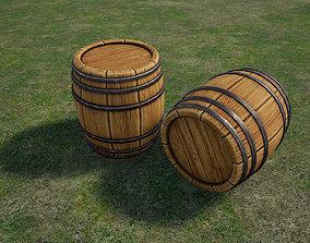 3D asset low-poly PBR Wooden barrel