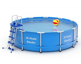 3D model Frame Swimming Pool with Waterpool Stairs