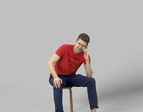 Janek Casual Man Sitting Talking On The Phone 3D model