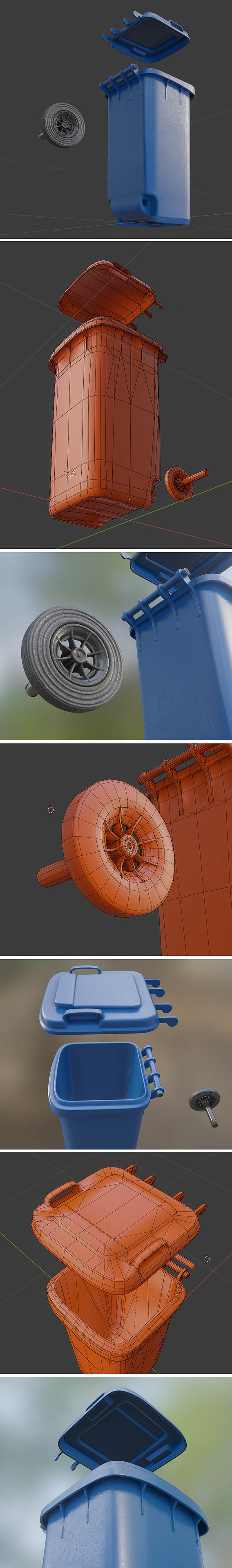 Blue Waste Paper Garbage Can 120L Low-Poly