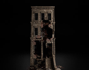 DESTROYED OLD BUILDING POST APOCALYPSE 002 3D model