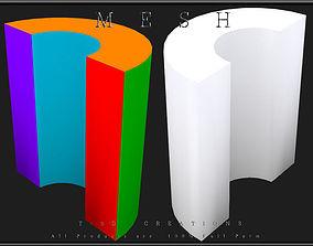 A Hollowed Circle Half Cylinder 3D asset