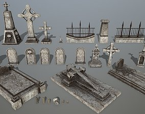 tombstone set 3D model game-ready