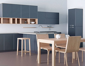 3D model Kitchen - Modern design with wooden table