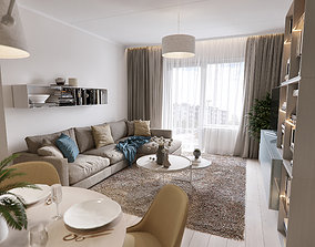 3D Modern apartment scene Hall Living Kitchen Dinning