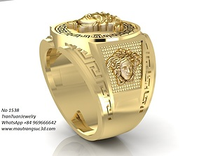 1538 Super Product Versace Gold Ring 3D printable model 6