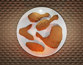 Fried chicken 5 pieces 3D