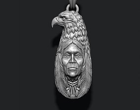 3D print model indian native man with eagle pendant