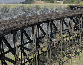 Wooden Trestle Bridge old and weathered 3D rigged