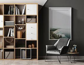 3D Leisure chair tea table combination Bookcase ornament