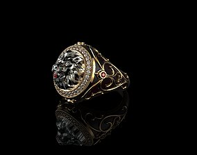 Mens Lion Ring Diamond diamant 3D print model