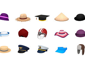 Hats and Helmet Pack 3 3D asset