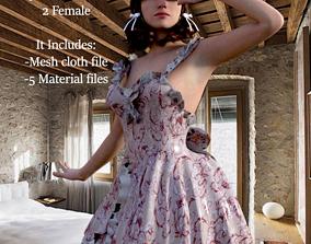 Floral Dress Complete Set-For Genesis 3D model