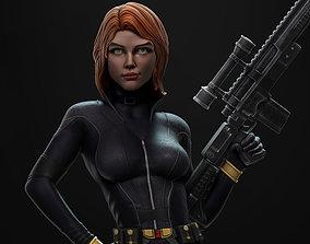 3D printable model Black Widow statue gun
